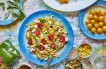 Tricolore Pasta Salad with Goat Cheese, Corn, Basil & Cherry Tomatoes