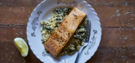 Seared Salmon with Spinach Quinoa