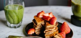Banana Walnut Vegan Pancakes and A Fabulous Green Smoothie From Foodsaver Stores